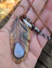Load image into Gallery viewer, Real Copper Electroformed Feather - Grey Moonstone - Minxes' Trinkets