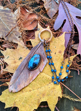 Load image into Gallery viewer, Real Copper Electroformed Feather - Blue Labradorite