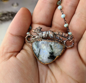 Electroformed Fox with Tourmalated Moonstone - Minxes' Trinkets