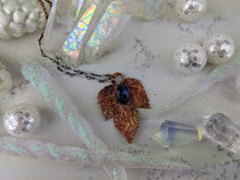 Load image into Gallery viewer, Electroformed Winter Hop Leaf Necklace with Blue Kyanite - Minxes' Trinkets