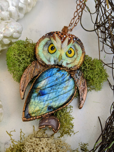 Electroformed Boreal Owl with Labradorite and Peach Moonstone