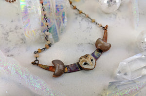 Electroformed Barn Owl with Peach Moonstone Moons - Minxes' Trinkets