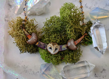 Load image into Gallery viewer, Electroformed Barn Owl with Peach Moonstone Moons - Minxes' Trinkets