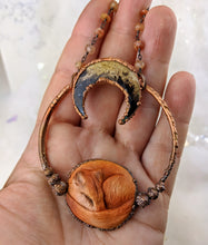 Load image into Gallery viewer, Electroformed Fox with Fossilized Palm Root Moon - Minxes' Trinkets