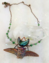 Load image into Gallery viewer, Electroformed Swooping Owl with Teal Green Labradorite Moon - Minxes' Trinkets
