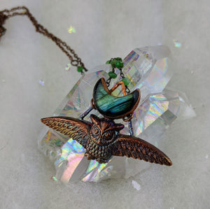 Electroformed Swooping Owl with Teal Green Labradorite Moon - Minxes' Trinkets