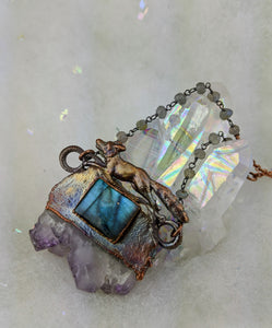 Electroformed Fox with Druzy Amethyst Slice and Labradorite - Minxes' Trinkets
