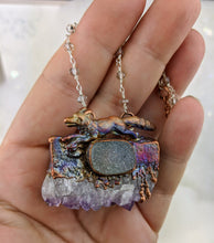 Load image into Gallery viewer, Electroformed Fox with Druzy Amethyst Slice and Grey Druzy - Minxes' Trinkets
