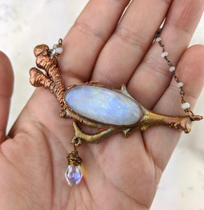 Electroformed Icy Winter Branch with Moonstone - Minxes' Trinkets