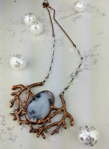 Electroformed Winter Branches with Dendritic Opal - 2 - Minxes' Trinkets