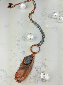 Electroformed Feather Necklace with Grey Druzy - Minxes' Trinkets