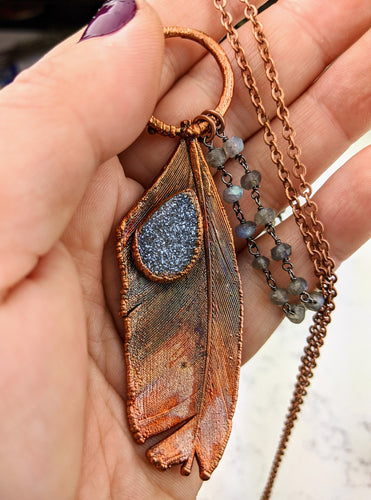 Electroformed Feather Necklace with Grey Druzy
