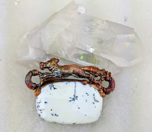 Electroformed Fox with Dendritic Opal Necklace - Minxes' Trinkets