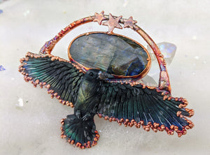 Electroformed Soaring Raven with Labradorite Necklace - Minxes' Trinkets