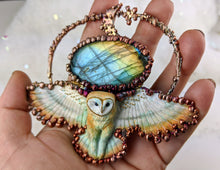 Load image into Gallery viewer, Electroformed Swooping Barn Owl with Labradorite - Minxes' Trinkets