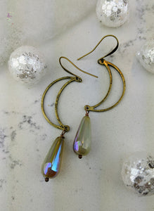 Open Moon Earrings with Iridescent Briolettes - Minxes' Trinkets