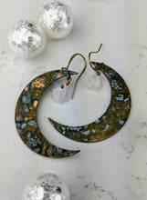 Load image into Gallery viewer, Verdigris Moon Earrings with Moonstones - Minxes' Trinkets
