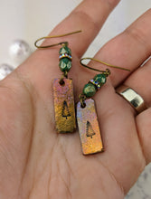 Load image into Gallery viewer, Stamped Copper Bar Pine Tree Earrings - Minxes' Trinkets