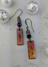 Load image into Gallery viewer, Stamped Copper Bar Feather Earrings - Minxes' Trinkets
