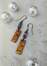 Load image into Gallery viewer, Stamped Copper Bar Winter Owl Earrings - Minxes' Trinkets