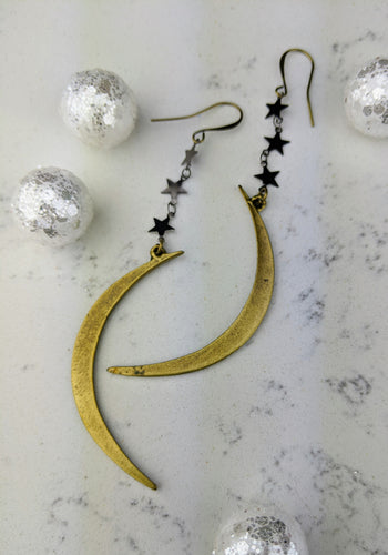 Winter Moon Earrings with Gunmetal Stars