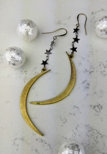 Winter Moon Earrings with Gunmetal Stars - Minxes' Trinkets
