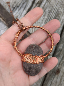 Copper Electroformed Welsh Beach Pebble Worry Stone Necklace I - Minxes' Trinkets