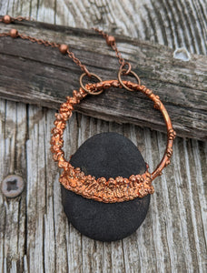 Copper Electroformed Welsh Beach Pebble Worry Stone Necklace IV - Minxes' Trinkets