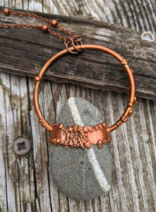 Copper Electroformed Welsh Beach Pebble Worry Stone Necklace V - Minxes' Trinkets