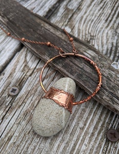 Copper Electroformed Welsh Beach Pebble Worry Stone Necklace VII - Minxes' Trinkets