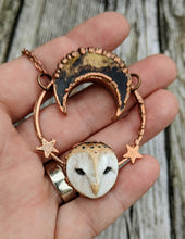 Load image into Gallery viewer, Electroformed Barn Owl Necklace with Fossilized Palm Root Moon - II - Minxes' Trinkets
