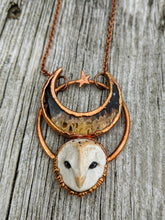 Load image into Gallery viewer, Electroformed Barn Owl Necklace with Fossilized Palm Root Moon - IV - Minxes' Trinkets