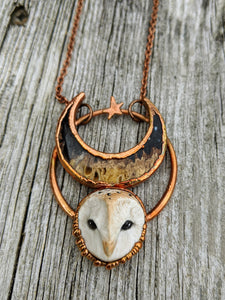 Electroformed Barn Owl Necklace with Fossilized Palm Root Moon - IV - Minxes' Trinkets