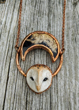 Load image into Gallery viewer, Electroformed Barn Owl Necklace with Fossilized Palm Root Moon - V - Minxes' Trinkets
