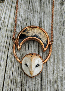 Electroformed Barn Owl Necklace with Fossilized Palm Root Moon - V - Minxes' Trinkets