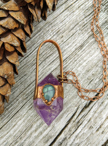 Amethyst and Labradorite - Copper Electroformed Necklace - Minxes' Trinkets