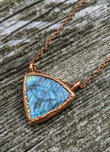 Load image into Gallery viewer, Carved Evil Eye Labradorite Copper Electroformed Necklace - Minxes' Trinkets