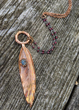 Load image into Gallery viewer, Real Copper Electroformed Feather - Grey Druzy - Minxes' Trinkets