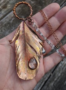 Real Copper Electroformed Feather - Clear Quartz - Minxes' Trinkets