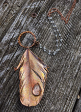 Load image into Gallery viewer, Real Copper Electroformed Feather - Clear Quartz - Minxes' Trinkets