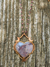 Load image into Gallery viewer, Copper Electroformed Moss Agate Heart - Cherry Blossom Pinks - Minxes' Trinkets