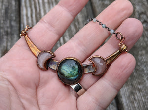Copper Electroformed Triple Goddess Moon Necklace - Peach Moonstone and Labradorite - Minxes' Trinkets