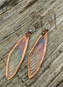 Carnival Row Fairy Wing Copper Electroformed Earrings - Minxes' Trinkets