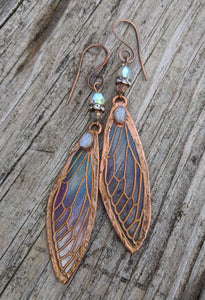 Carnival Row Fairy Wing Copper Electroformed Earrings - Moonstone - Minxes' Trinkets