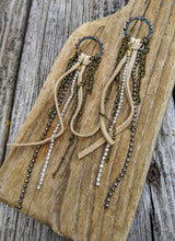 Load image into Gallery viewer, Leather and Rhinestones Shoulder Duster Earrings - Minxes' Trinkets