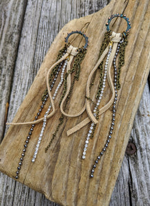 Leather and Rhinestones Shoulder Duster Earrings - Minxes' Trinkets