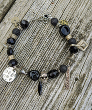 Load image into Gallery viewer, Eclectic Black Skull Bracelet - Minxes' Trinkets