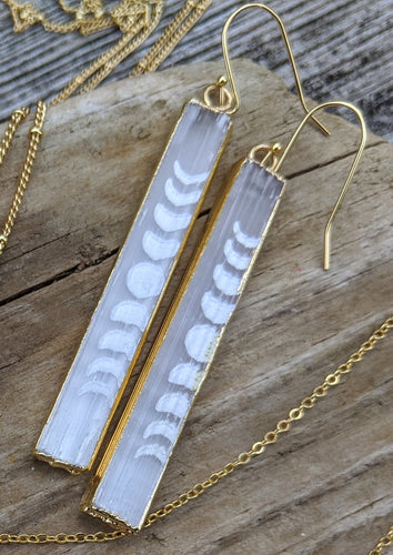 Slightly Imperfect - Engraved Selenite Moon Phase Earrings - Minxes' Trinkets