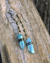 Load image into Gallery viewer, Aqua Aura Quartz Point Dangle Earrings 2 - Minxes' Trinkets
