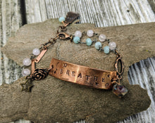 Load image into Gallery viewer, BREATHE Wrist Reminder Bracelet - Copper Electroformed - Minxes' Trinkets